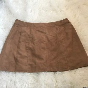 Suede Light Brown Circle Skirt